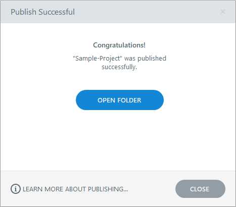 The Publish Successful window in Storyline 360