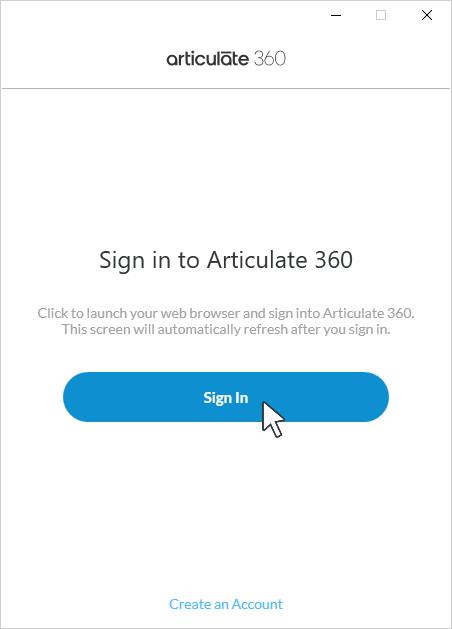 The sign-in screen in the Articulate 360 desktop app