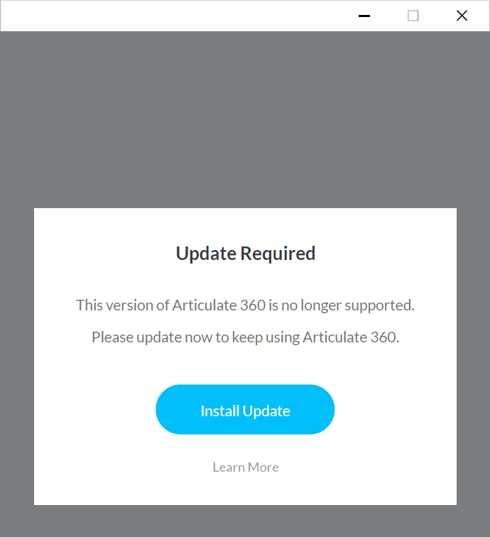 """Articulate 360 desktop app with a prominent expiration notice and an """"Install Update"""" button"""