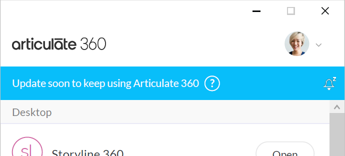 Articulate 360 desktop app with a blue banner across the top reminding you to update the app