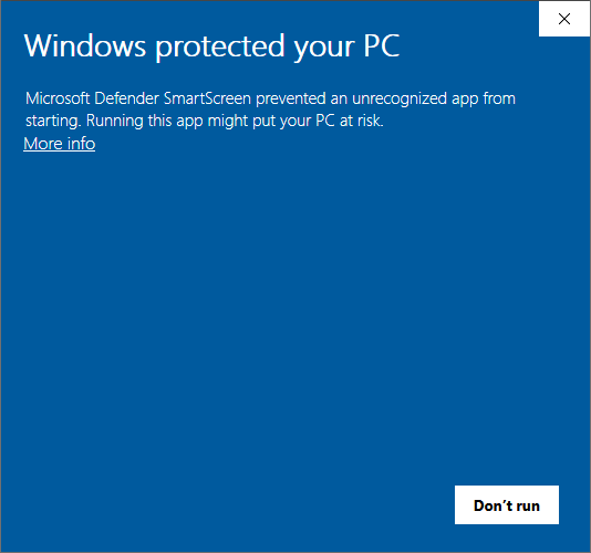 Microsoft Defender SmartScreen warning with an option to see more info