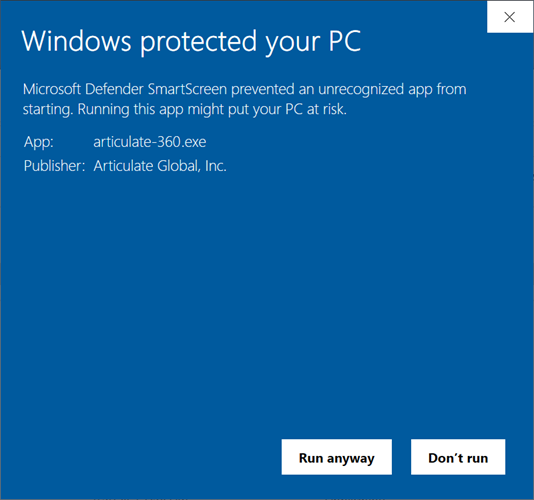 Microsoft Defender SmartScreen warning with app name, app publisher, and an option to install the app