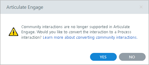 Upgraded community interactions will be converted to process interactions.