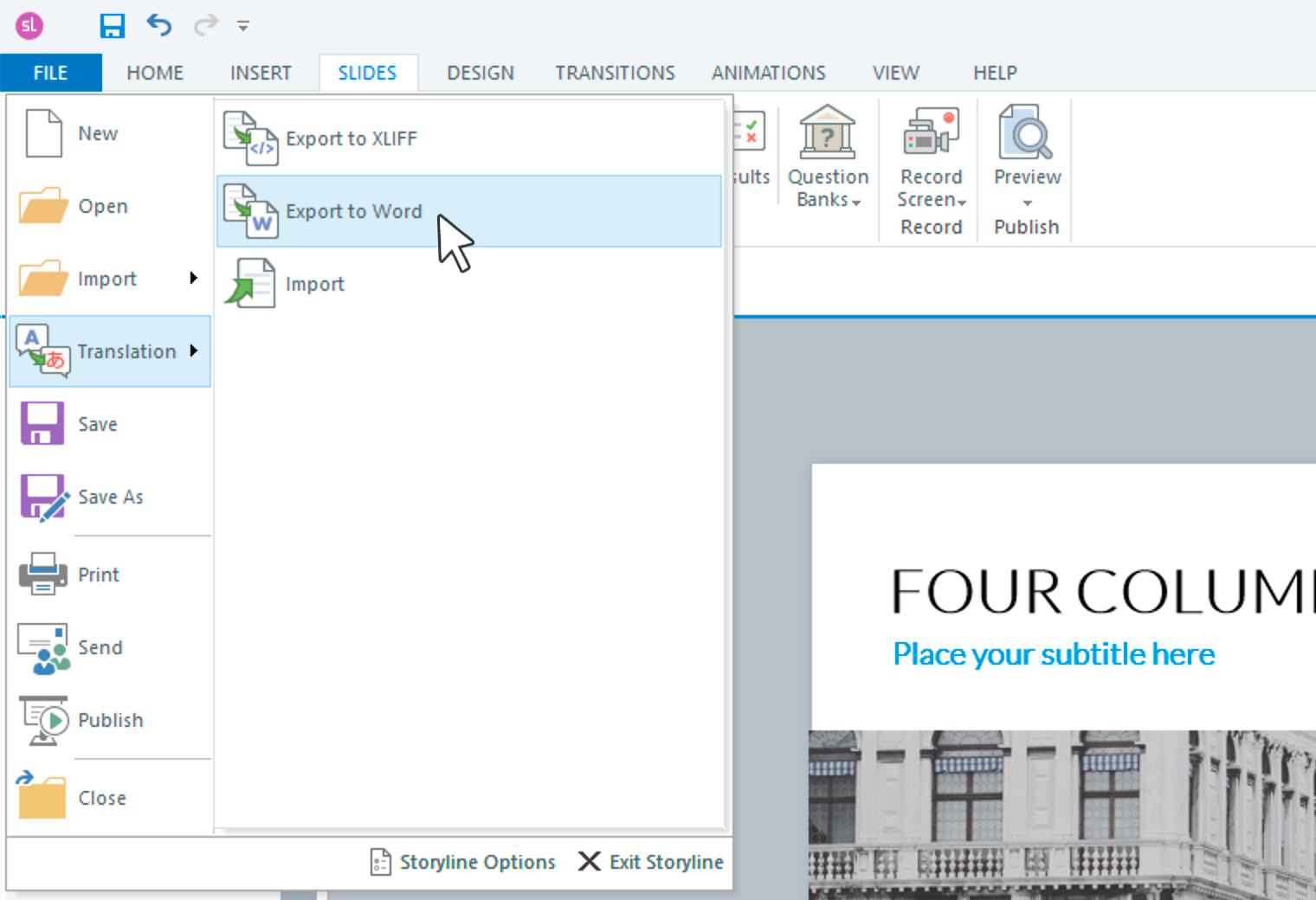 Export to Word feature Storyline 360.