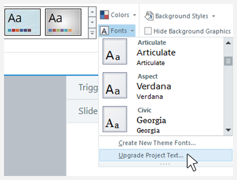 Upgrade. Project Text setting in Storyline 360