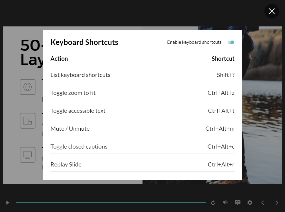 List of keyboard shortcuts in a published Storyline 360 course