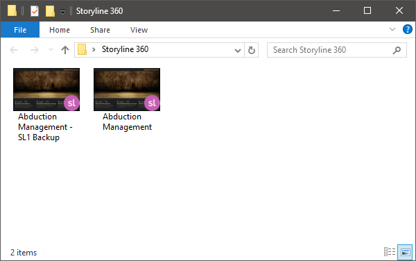 Storyline 360 creates a backup copy of your original project file.