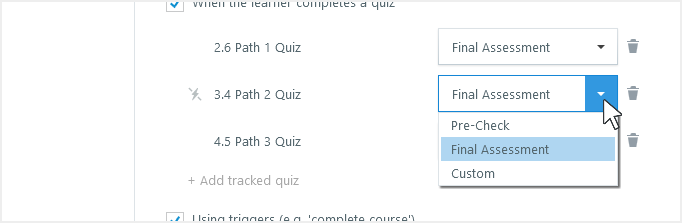 Change a quiz type in your tracking options
