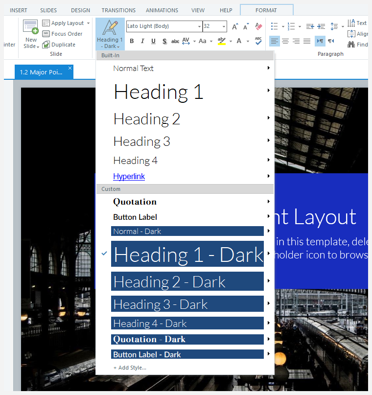 The text styles menu in Storyline 360 showing several built-in and custom styles
