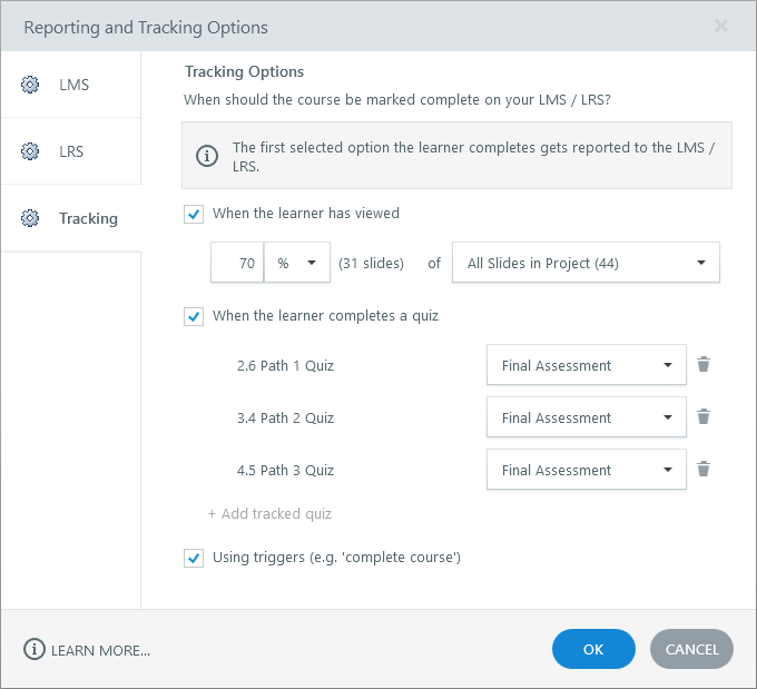 Tracking options in Storyline 360