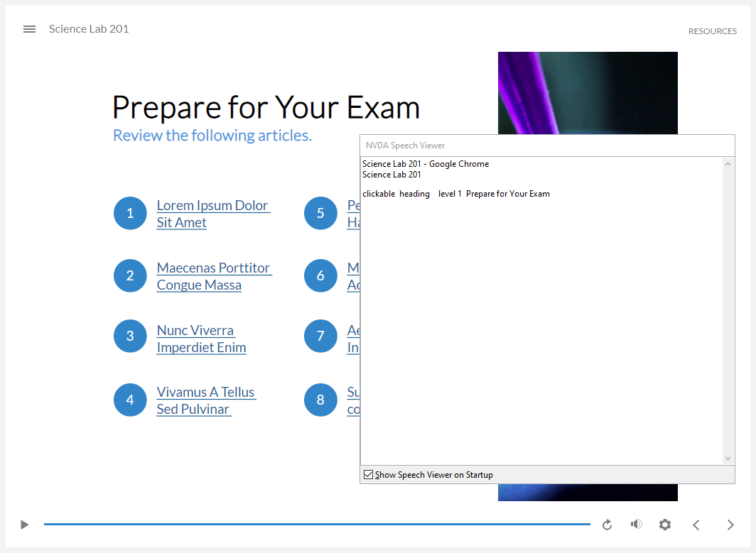 "Storyline 360 course with the NVDA speech viewer showing ""heading level 1 prepare for your exam"""
