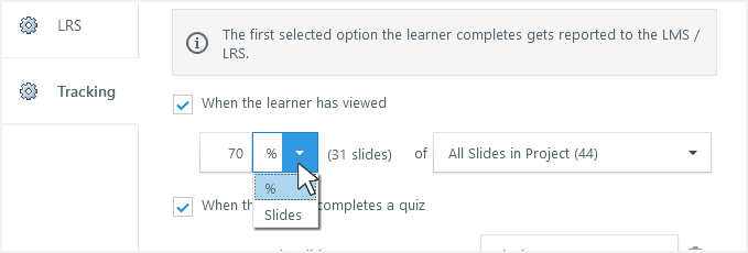 Track a percentage or a fixed number of slides