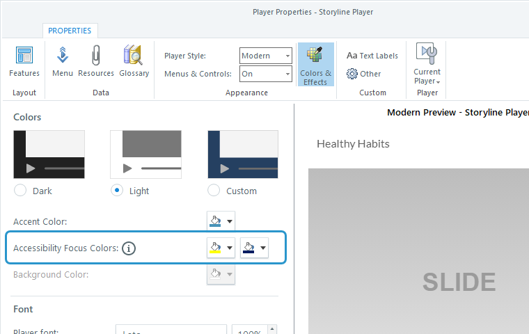 The player properties window in Storyline 360 highlighting the accessibility focus colors